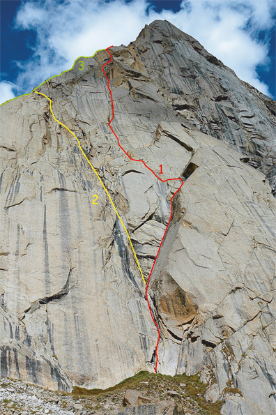 Przebieg dróg na Sadu Peak: 1. Pretty Close (VII), 2.Love, Love (VII), 3.Sadu (VII)