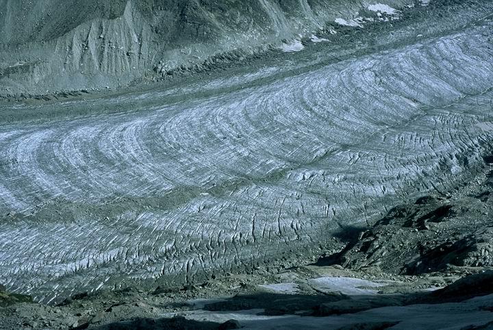 Mer De Glace o poranku - widok z miejsca biwakowego