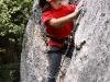 Jarek Mazur podczas wspinaczki w La Goli