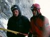 2005-08 Alpy Francuskie. Filar Walkera - po drugim biwaku. Z Pawłem Fidrykiem. Podczas pierwszej próby Krzyśka. Fot. Michał Kaspowicz